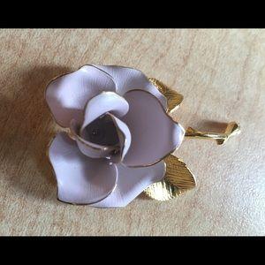Cerritos Vintage enamel pink gold rose  brooch